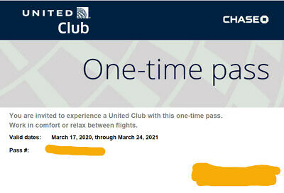 United Club Chase One-Time Pass (Exp March 24 ,2021)