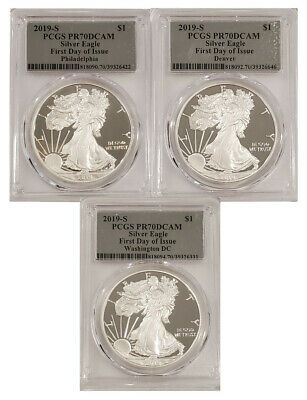 2019-S American Silver Eagle 3 Coin Set First Day Of Issue PCGS PR70DCAM