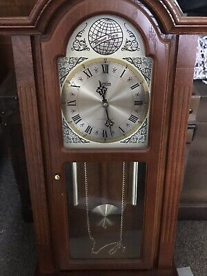 wooden Swinging pendulum wall clock, Westminster Chiming, Dummy Weight & Chains.