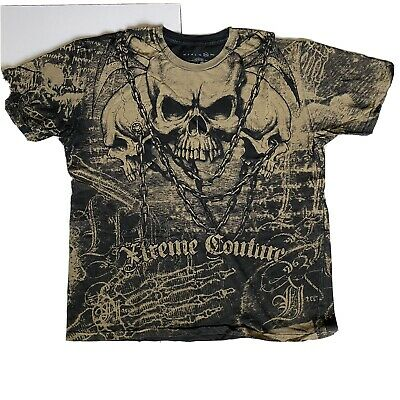 XTREME COUTURE by AFFLICTION Mens Sz 2XL SHORT SLEEVE T-Shirt KILLER Biker