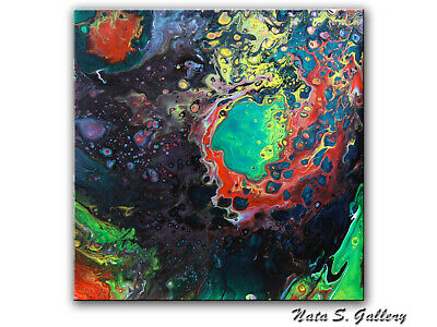 Modern Colorful Poured Painting Original Abstract Acrylic Wall Art Decor by Nata