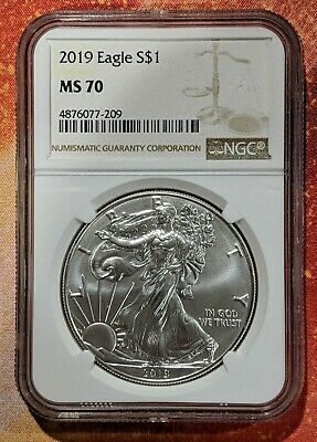 2019 American Silver Eagle NGC MS70 Brown Label No Spots Bright White
