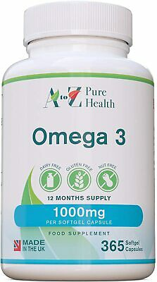 A to Z Pure Health Omega 3 Fish Oil 1000mg 365 Softgels Pure Fish Oil