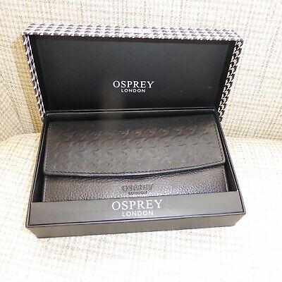 Osprey London, Black Leather Dogtooth Large Purse/Wallet, Bn/Boxed, Gift?