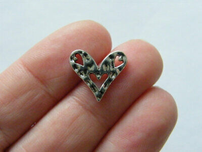 BULK 50 Heart Beat Connector Charms Antique Silver Tone Pulse SC3054