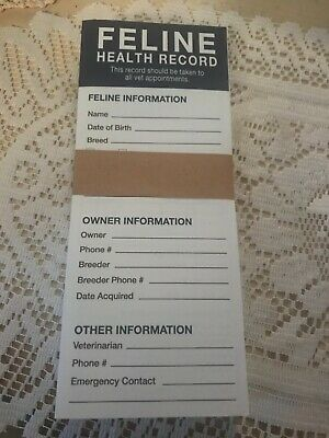 Pet Feline Health cat Shot Vaccination and Vet Record Book Lot of 25