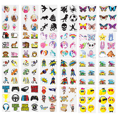 TEMPORARY TATTOOS Kids Childrens Girls Boys Novelty Party Loot Bag Fillers