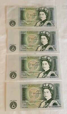 4 x BANK OF ENGLAND ONE POUND BANKNOTES (2 HAVE CONSECUTIVE NUMBERS) UNC