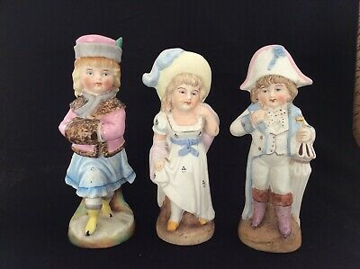 "Three Antique Hand Painted Bisque Porcelain 7"" Figurines, 2 marked."