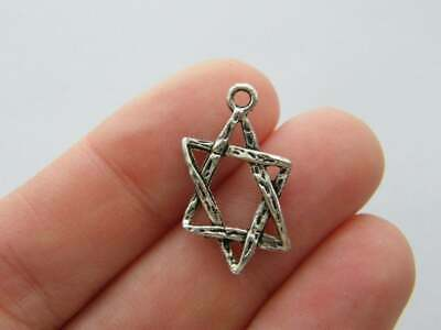 SC2485 12 Star of David Charms Antique Silver Tone