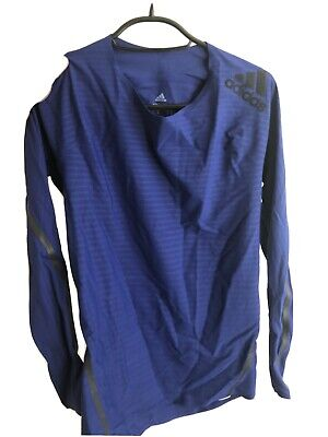 Blue Adidas Techfit Climacool Compression Top Baselayer Size M Long Sleeve