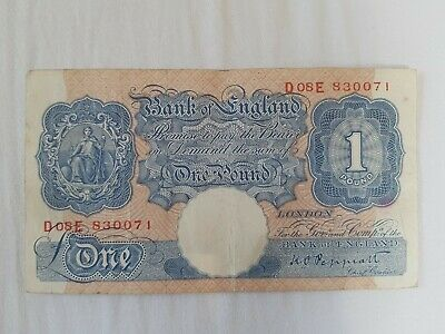Bank of england Old note £1- One pound note Peppiatt blue & pink D08E 830071