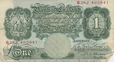 Great Britain 1944-1955 Bank of England 1 Pound Banknote P-0369b