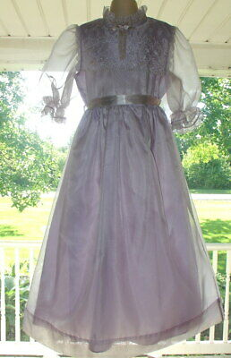 2 Vintage Girls Party long Dress Pageant Flower Lace Sheer Purple Sz 6/8