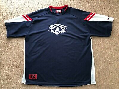 Vintage Retro 90's Mens Umbro Pro Training Navy Blue T-Shirt - Size XXL - VGC