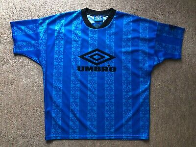 Vintage Retro 90's Mens Umbro Pro Training Blue T-Shirt - Size Large - GC