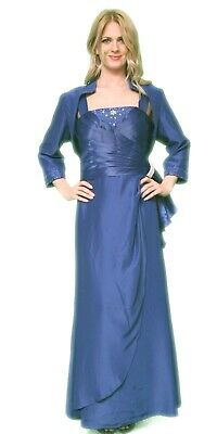 Mother of Bride Dress Satin Gown 3/4 Jacket Beaded A-Line 2 Pc. Royal Blue 2X 14