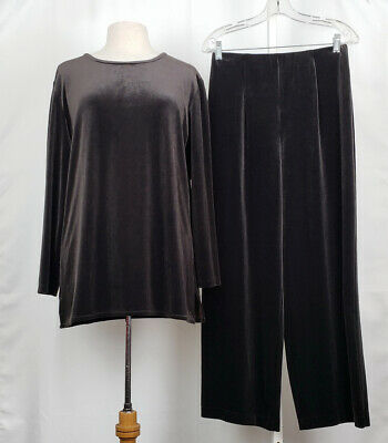Eileen Fisher Brown Velour Top Pants Set Misses S M