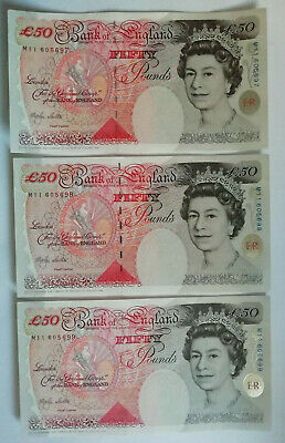 ENGLAND: 3 x £50 Pounds banknotes. Lowther. Uncirculated Consecutive. M11 605699