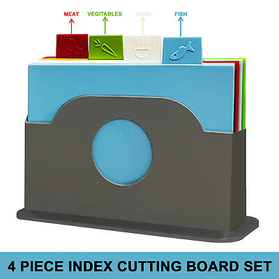 4 piece Plastic Chopping Board Non Slip Color Coded Kitchen Food Cutting Boards