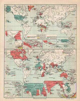 Antique map. HISTORIC MAP. THE WORLD COLONIE MAP. c 1905