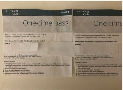 United Airlines Club One-Time Passes (2 passes) (Expire 12/03/2020)