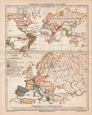 Antique map. HISTORIC MAP. MONEY CURRENCY MAP OF THE WORLD & EUROPE. c 1905