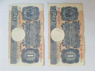 TWO Bank of England old notes £1 - TWO Old One Pound Notes ~ Peppiatt