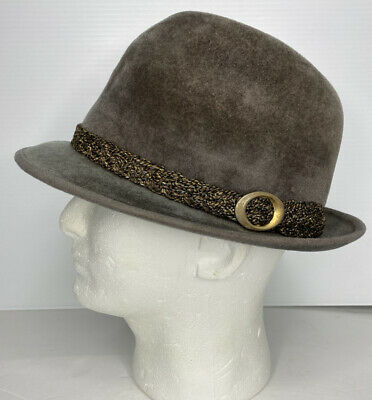 Stetson Men's Gray Fedora Hat Vintage Velour Braided Band Sovereign