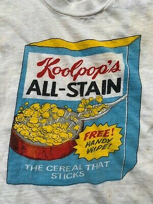 RARE VINTAGE 1970'S CHILD KOOLPOPS CEREAL DISTRESSED GRAPHIC T SHIRT kids