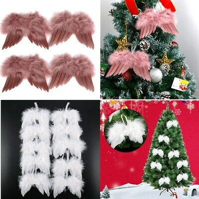 Details about  /1-50PCS White Feather Hanging Fairy Angel Wings Christmas Tree Xmas Ornament UK