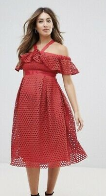 NWT Asos Maternity Red Crochet Lace Dress Size 10 Ruffle Off Shoulder Sleeves