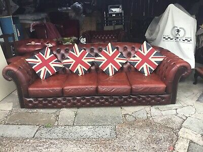 Chesterfield 4 Seater Sofa In Oxblood Red Real Leather