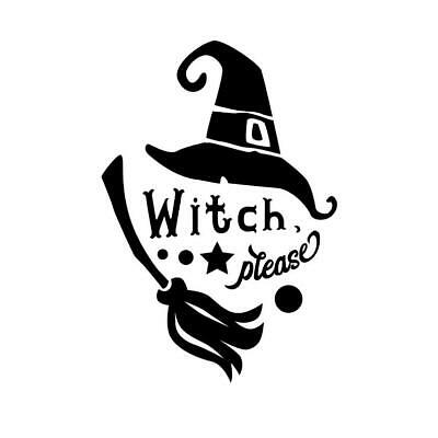 Dancing Witch and Cat Halloween Vinyl Wall Decal Sticker Home Decor Family
