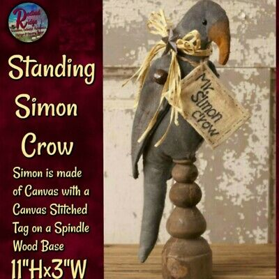 """New Primitive Rustic Black MR SIMON CROW DOLL ON SPINDLE Make Do 11/"""""""