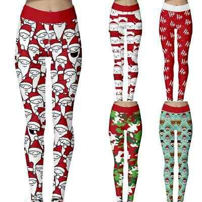 Women/'s Christmas Leggings Active Workout Running Yoga Gym Pants Stretchy Casual