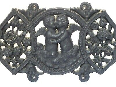 Gorgeous Vintage French Cast Iron Architectural Mount Plaque With Cherubs