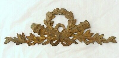 19TH Antique French Gilded Bronze EMPIRE Pediment Hardware Furniture Salvage 13""