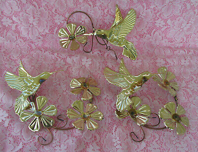 VINTAGE 3 PC HOMCO HOME INTERIOR GOLD METAL HUMMINGBIRDS /& FLOWERS WALL PLAQUES