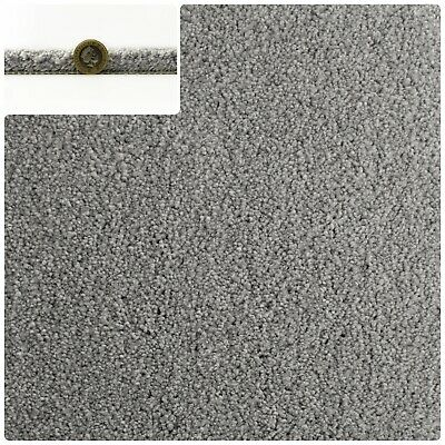 LUXURY 14mm Thick Soft Mink Grey Action Back 5m Wide Saxony Carpet £19.99m²