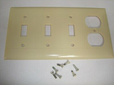 Vintage Sierra 4 Gang 3 Toggle 1 Outlet Switch Wall Plate Cover Ivory P-38