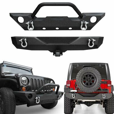 Rear Bumper for Wrangler JK Front Bumper AAIWA Offroad Steel Bumper Full Width with 2 Hitch Receiver and D-rings Compatible with 07-18 Jeep Wrangler JK