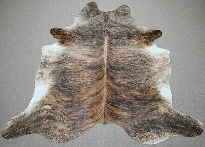 Extra Large brindle style exotic Cowhide rug 7 X 6.7ft 3876
