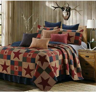 WILD MOOSE 3pc Full Queen QUILT SET CABIN BROWN BLACK RED MOUNTAIN COVERLET