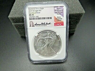 2019 W Burnished Silver Eagle Ngc Ms70 Fdoi Anna Cabral Signed  Label Key Date