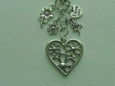 LOVE MY SISTER FLOWERS LOVE YOU HEART KEY CHAIN CLIP FOR PURSE BAG CHARM FOB