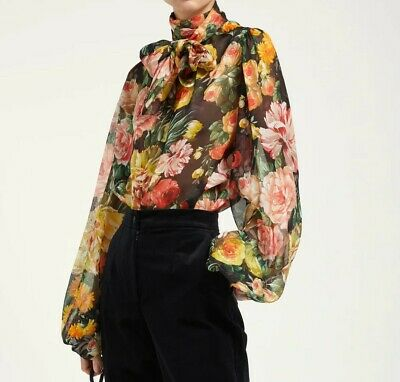 NEW $980 DOLCE /& GABBANA Blouse Top Cami Silk Stretch Daisy Floral IT38// US4// XS