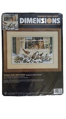 New in Package Kittens and Birds Cross Stitch Kit Counted Cross Stitch Kit Three Bird Watchers Dimensions #3839