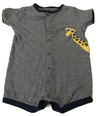 New Carter/'s Boys 1 Piece Navy Striped Giraffe Scooter Romper Outfit 6 9 12 24m