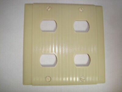 Vintage Ivory Switch Outlet Despard Wall Cover Plate 2 Gang 2G 4 Opening Uniline
